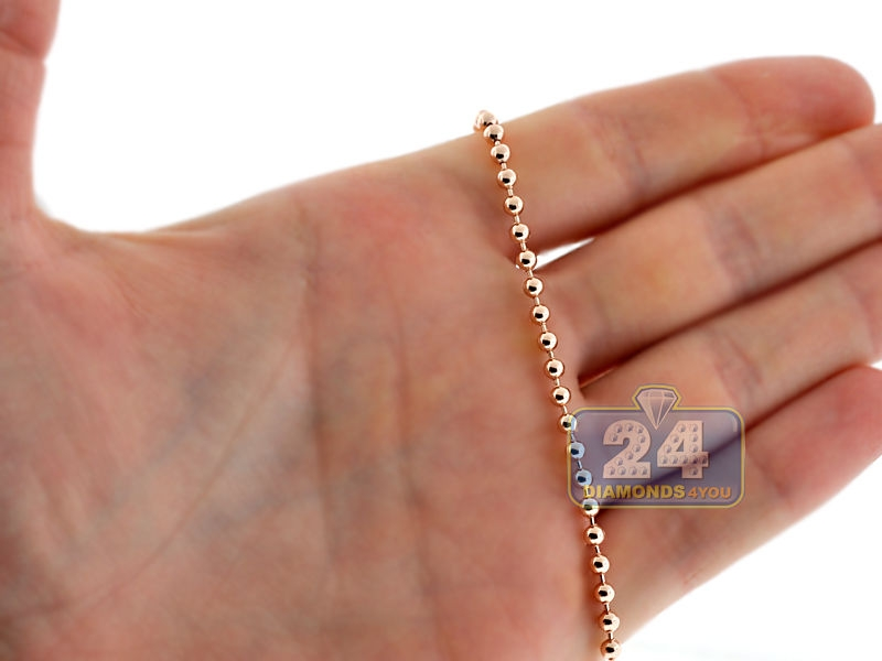 Italian 14k Rose Gold Solid Smooth Bead Mens Army Chain 3 Mm
