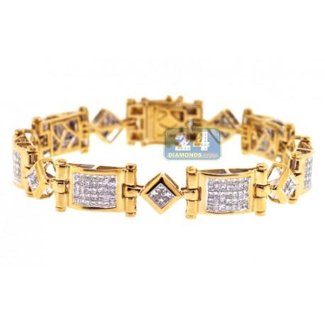 "Mens Princess Cut Diamond Bracelet 14K Yellow Gold 5.33 ct 8.25"""