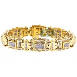 14K Yellow Gold 5.05 ct Diamond Link Mens Bracelet 8 1/4 Inches