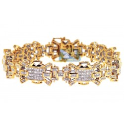 14K Yellow Gold 8.16 ct Diamond Link Mens Bracelet 8 1/2 Inches