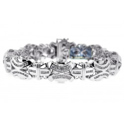 14K White Gold 4.31 ct Diamond Link Mens Bracelet 8 1/2 Inches