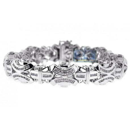 """Mens Diamond Link Bracelet 14K White Gold 4.31 ct 15mm 8.5"""""""