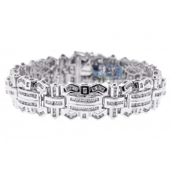 14K White Gold 6.81 ct Diamond Link Mens Bracelet 8 1/4 Inches