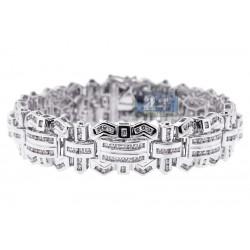 14K White Gold 6.81 ct Diamond Link Mens Bracelet 8 1/4 Inches