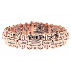 14K Rose Gold 6.81 ct Diamond Link Mens Bracelet 8 1/4 Inches