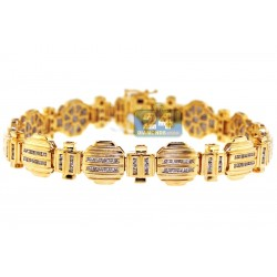 14K Yellow Gold 1.68 ct Channel Set Diamond Mens Bracelet