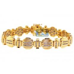 14K Yellow Gold 1.68 ct Channel Set Diamond Mens Bracelet