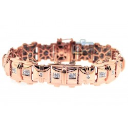 14K Rose Gold 2.40 ct Diamond Mens Flat Bracelet 8 1/2 Inches