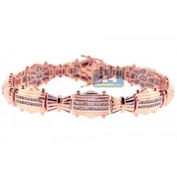 14K Rose Gold 2.03 ct Channel Diamond Link Mens Bracelet