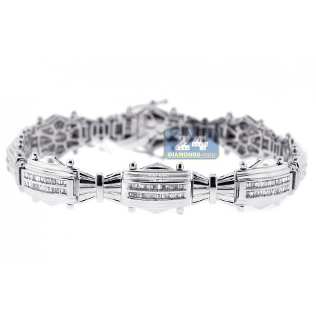 Mens Baguette Cut Diamond Bracelet 14K White Gold 2.01 ct 8.25""