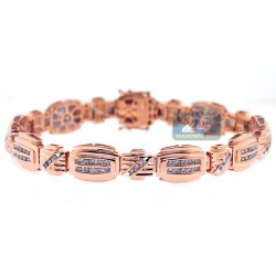 14K Rose Gold 2.58 ct Diamond Link Mens Bracelet 8 3/4 Inches