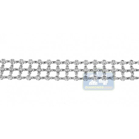 Womens Bezel Set Diamond Mesh Bracelet 14K White Gold 1.55 ct 7""