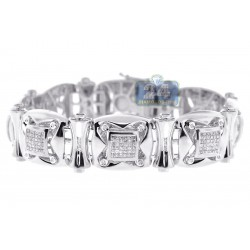 14K White Gold 4.02 ct Diamond Link Mens Bracelet 8 1/4 Inch