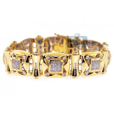 "Mens Diamond Link Bracelet 14K Yellow Gold 4.03 ct 18mm 8.25"""