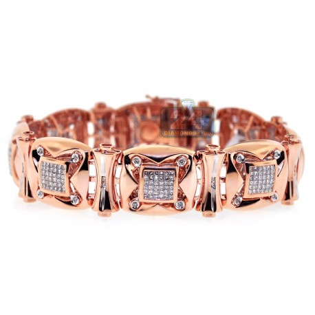 Mens Diamond Link Bracelet 14K Rose Gold 3.88 ct 18mm 8.25""