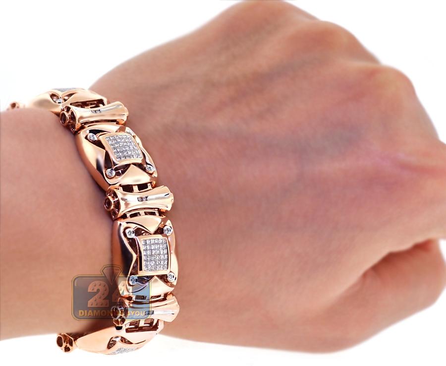 mens diamond link bracelet 14k rose gold ct 18mm. Black Bedroom Furniture Sets. Home Design Ideas