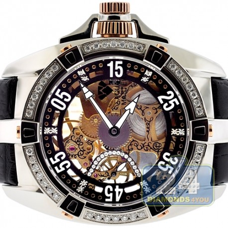 Mens Diamond Mechanical Skeleton Watch Aqua Master 1.25 ct