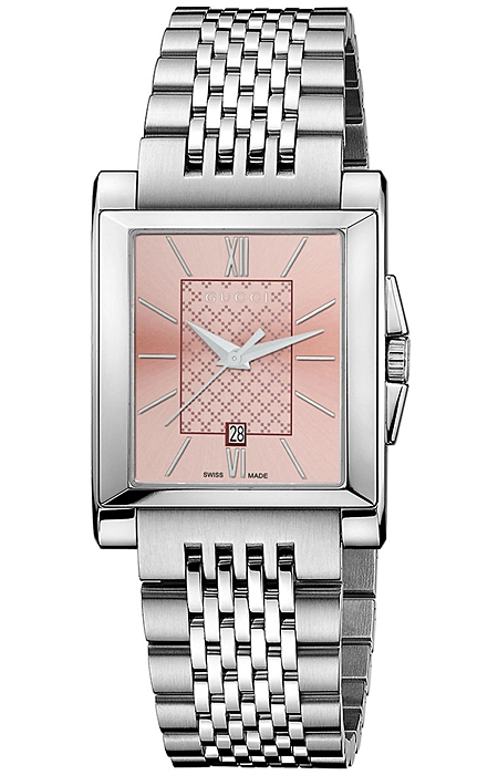 f7a4d5c8f06 Gucci G-Timeless Rectangle Pink Dial Steel Womens Watch YA138502