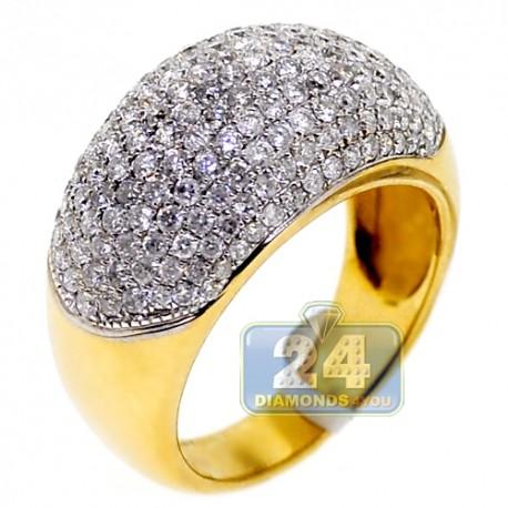 14K Yellow Gold 2.01 ct Diamond Womens Dome Ring