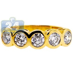 14K Yellow Gold 1.61 ct Five Diamond Womens Anniversary Ring