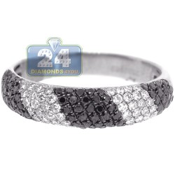 14K White Gold 0.80 ct Black Diamond Womens Zebra Ring