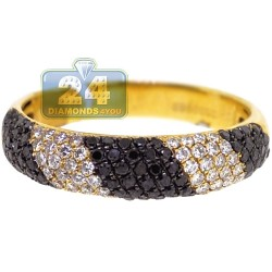 14K Yellow Gold 0.80 ct Black White Diamond Womens Zebra Ring