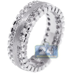 Matte 14K White Gold 3.01 ct Diamond Mens Eternity Ring