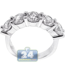 Womens Diamond 5 Stone Anniversary Ring 14K White Gold 3.44 ct