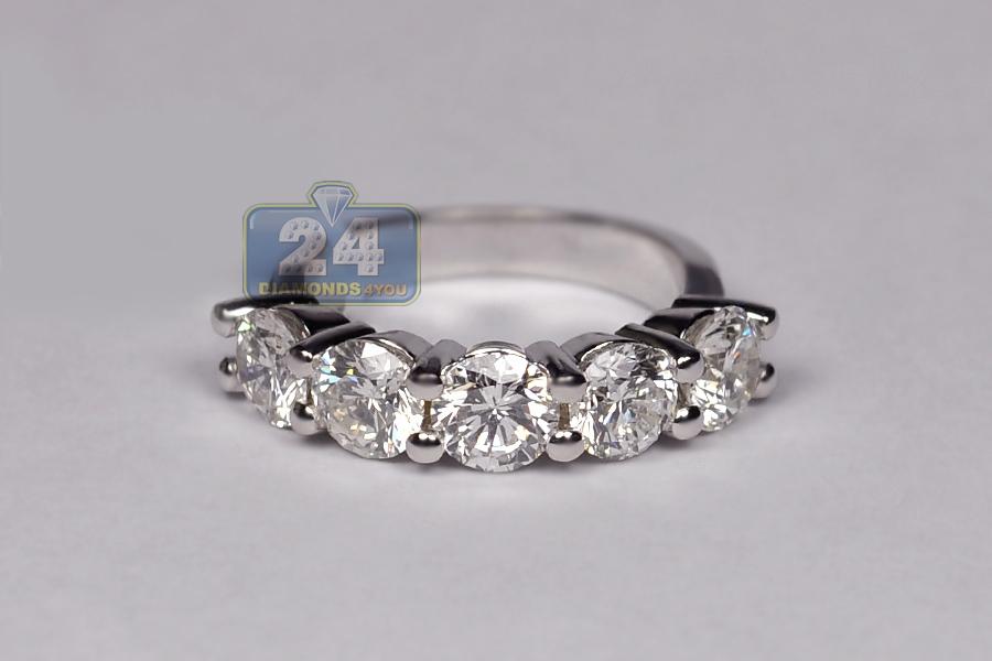Womens Diamond 5 Stone Anniversary Ring 14k White Gold 3 44 Ct