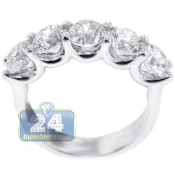 Womens Diamond Anniversary 5 Stone Ring 14K White Gold 3.36 ct