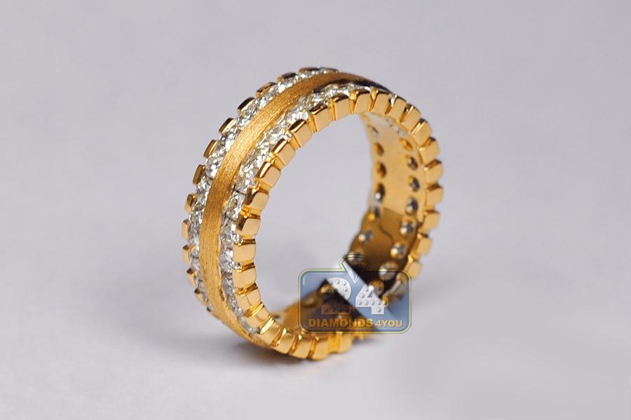 ct diamond womens eternity ring matte 14k yellow gold. Black Bedroom Furniture Sets. Home Design Ideas