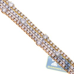 Womens Diamond Station Tennis Bracelet 18K 3 Tone Gold 11.91 ct