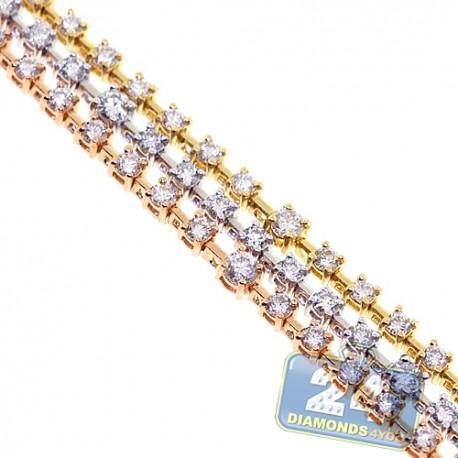 Womens Diamond Station Tennis Bracelet 18K Three Tone Gold 4.32 ct