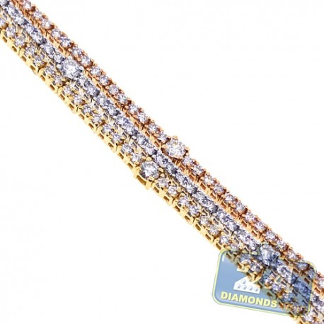Womens Diamond Multi Row Tennis Bracelet 18K 3-Tone Gold 4.77 ct