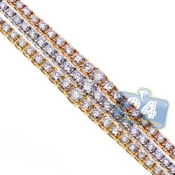 Womens Diamond Tennis Bracelet 18K Three Tone Gold 10.16 ct 7 Inch
