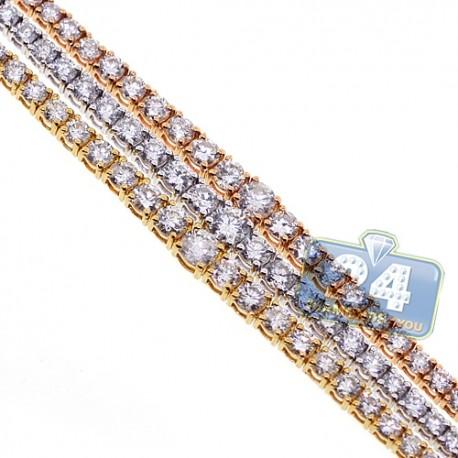Womens Diamond Tennis Bracelet 18K Three Tone Gold 10.16 ct 7 Inch