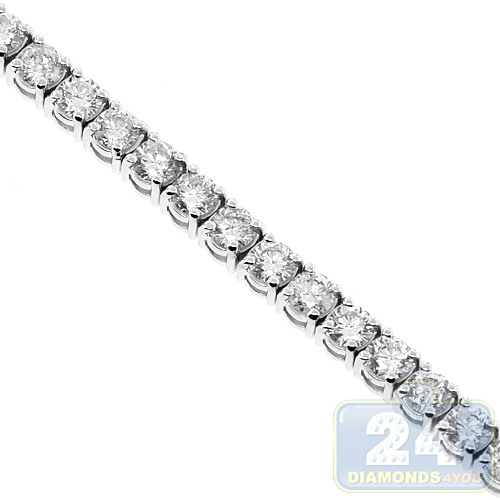 88d168015219a 14K White Gold 10.35 ct 4-Prong Diamond Womens Tennis Bracelet