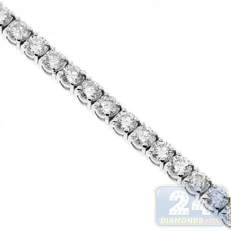"Womens Round Diamond Tennis Bracelet 18K White Gold 9.02 ct 6.5"""