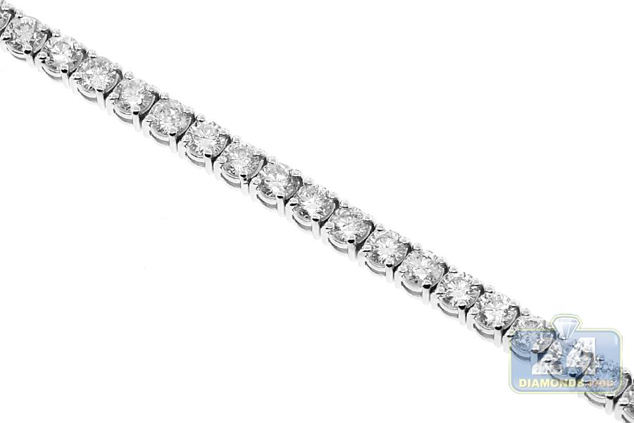 Womens Vs1 F Round Cut Diamond Tennis Bracelet 18k White Gold