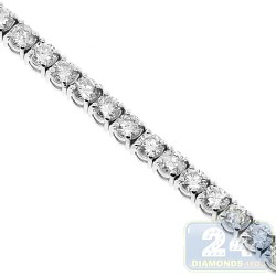 Womens VS1 F Round Diamond Tennis Bracelet 18K White Gold 2.92 ct