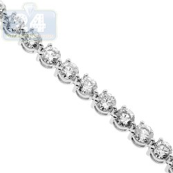 Womens Round Diamond Tennis Bracelet 18K White Gold 6.55 ct 7.25""