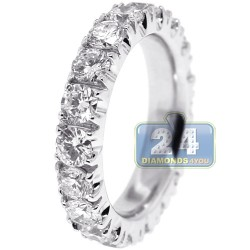 950 Platinum 3.10 ct Round Diamond Womens Eternity Ring