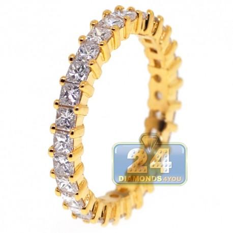14K Yellow Gold 2.11 ct Princess Diamond Womens Eternity Ring