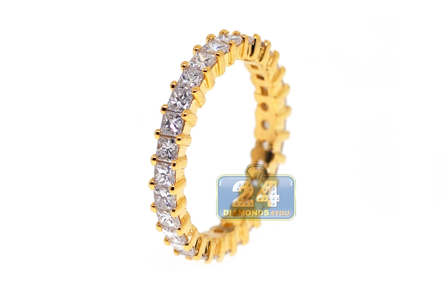wedding band carat yellow ring womens anniversary handmade pave diamond eternity bands stackable gold