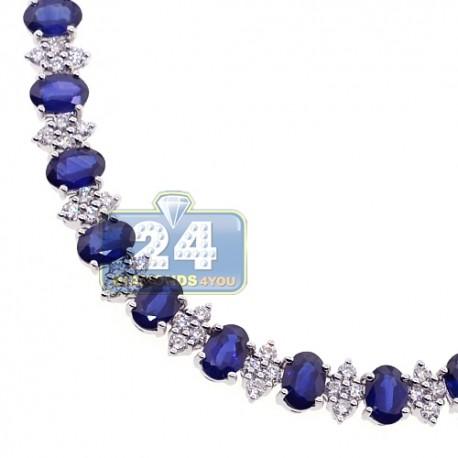 "Womens Blue Sapphire Diamond Tennis Necklace 18K White Gold 17"""