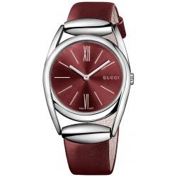 Gucci Horsebit Red Leather Womens Quartz Watch YA139402