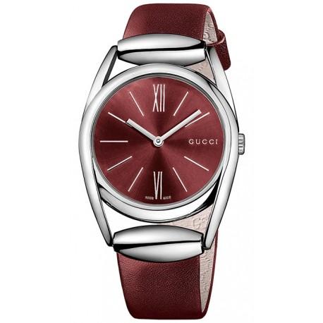 e997464e01c Gucci Horsebit Red Leather Womens Quartz Watch YA139402