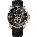 Calibre de Cartier Diver Pink Gold Steel Rubber Watch W7100055