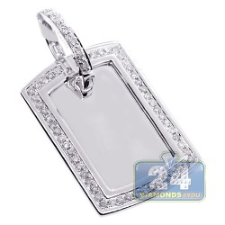 Mens Diamond ID Style Dog Tag Pendant 10K White Gold 0.84ct