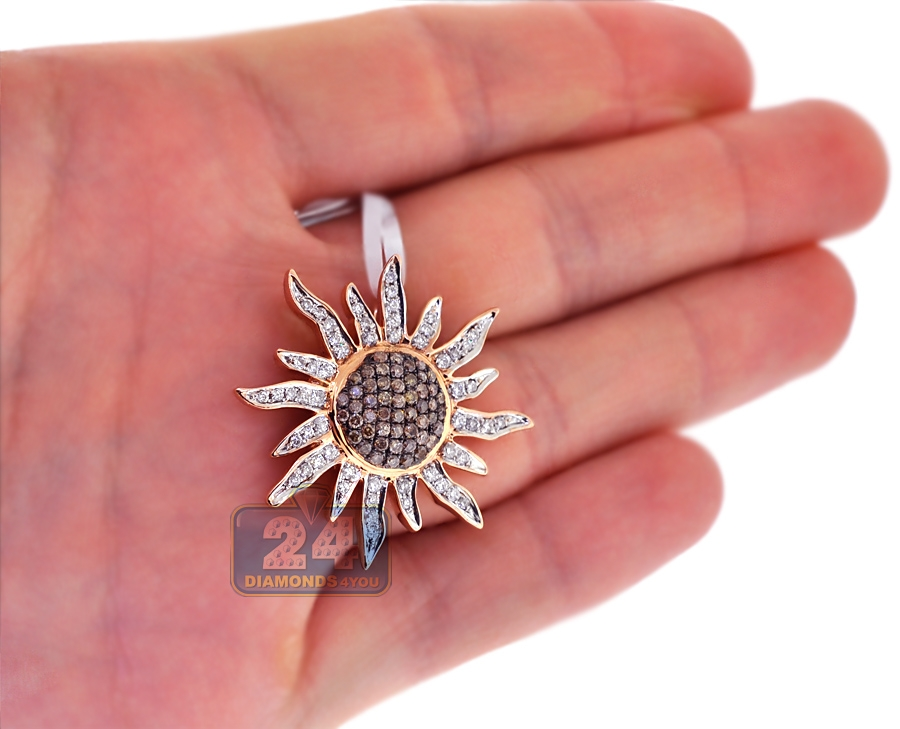 Mens Womens Cognac Diamond Sun Pendant 14k Rose Gold 1 51ct